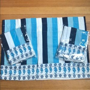 Seaside Summer Valance x 3 Blue Seahorses